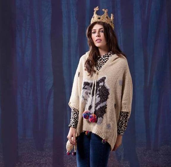 poncho tejido lobo - Agustina Saquer invierno 2015