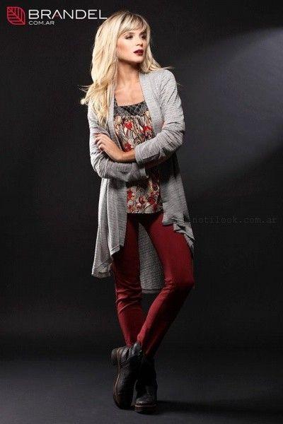 saco tejido gris y pantalon bordo - Brandel otoño invierno 2015