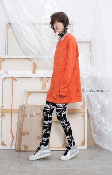sweater naranja holgado y largo - Complot invierno 2015