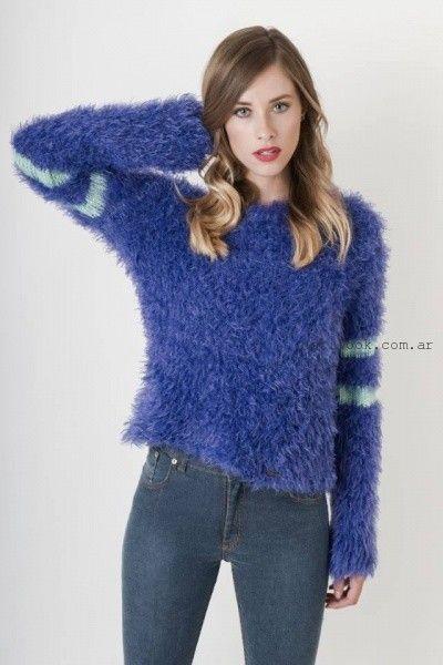 sweater tejido azul Enriquiana otoño invierno 2015