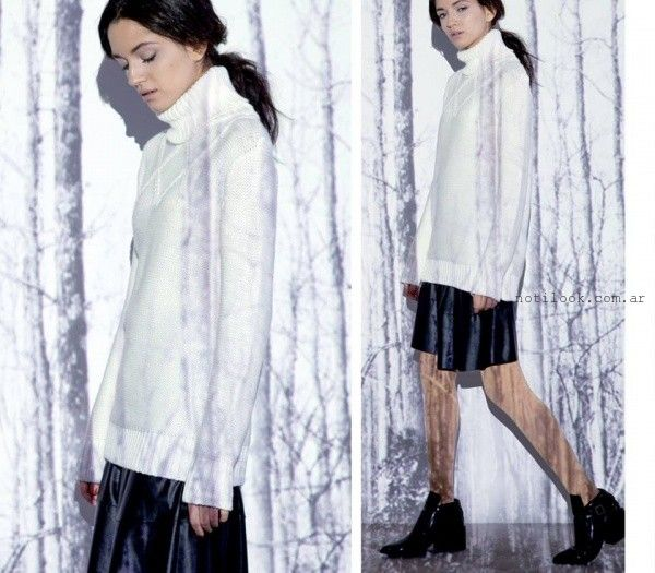 sweater tejido y falda simil cuero  - Moda Urbana - Nucleo invierno 2015