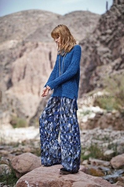 sweater y palazo azul India Style invierno 2015