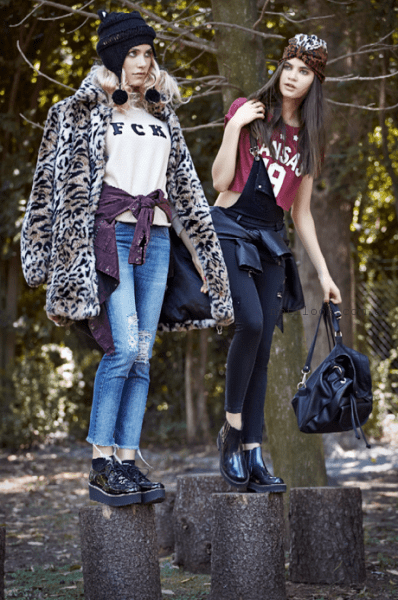 tapada animal print y enterito de jeans Union good invierno 2015
