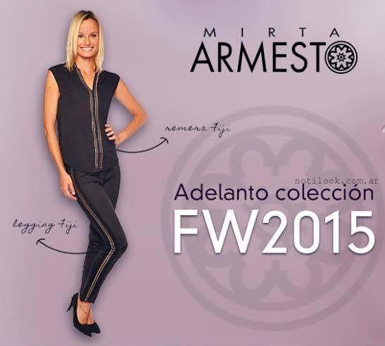 blusa y pantalon negro Mirta Armesto otoño invierno 2015