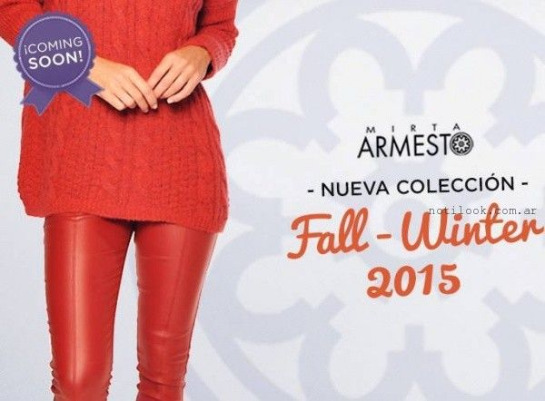 sweater largo y pantalon engomado Mirta Armesto otoño invierno 2015