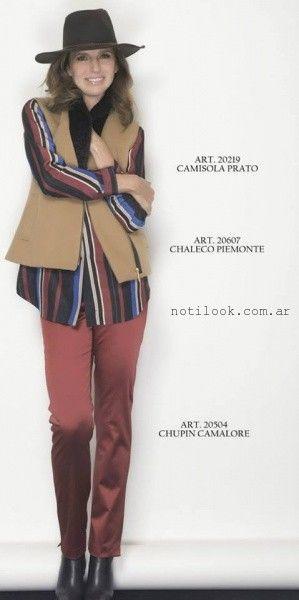 camisa a rayas y pantalon bordo  - Teresa Calandra invierno 2015