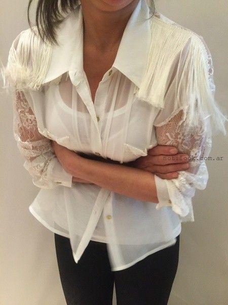 camisa con apliques de encaje monica acher invierno 2015