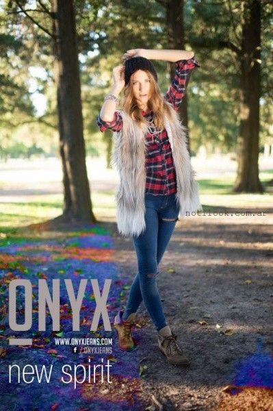 camisa leñadora chaleco piel sintetica y jeans onyx invierno 2015