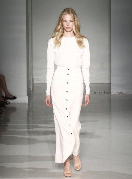 falda abotonada de jeans blanca larga - tendencia verano 2016