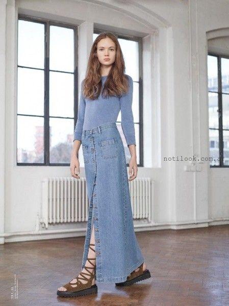pollera abotonada de jeans larga - tendencia verano 2016