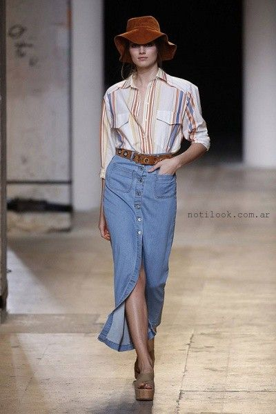 polleras de jeans largas - tendecias verano 2016