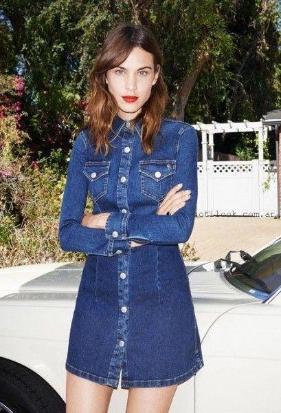 vestido de jeans entallados tendencia verano 2016