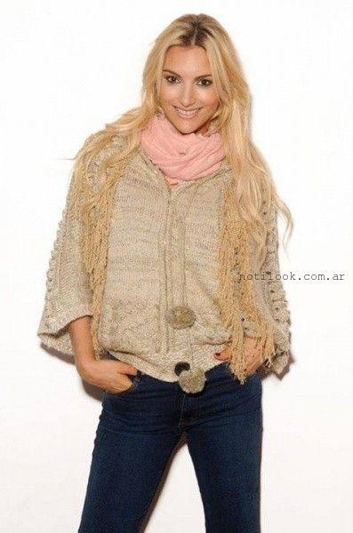 OMA ropa- Tejido abrigo estilo poncho invierno 2015