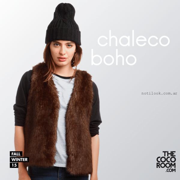 chaleco marron de piel sintetica the coco room