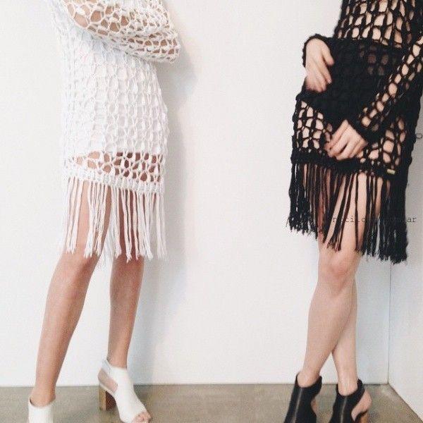 vestidos tejidos a crochet en red verano 2016 - Square jean