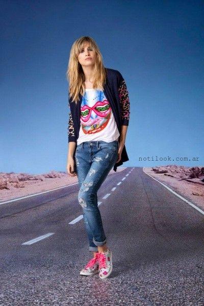 Agustina Saquer - saco azul y animal print tejidos verano 2016