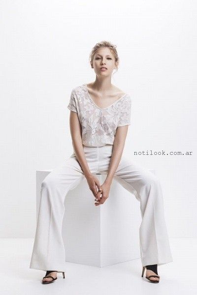 Awada - blusa con transparencia y pantalon oxford primavera verano 2016