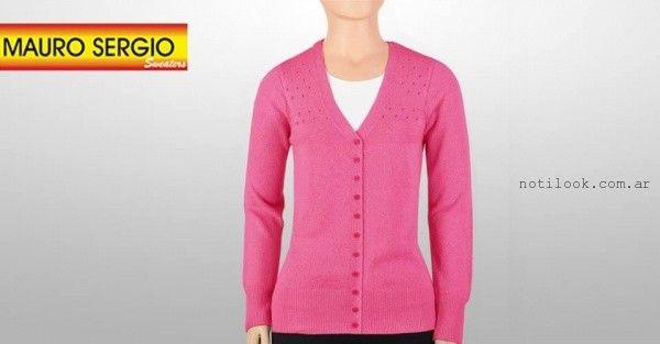 cardigan fucsia tejido - Mauro Sergio sweater verano 2016