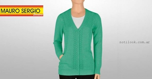 cardigan verde tejido - Mauro Sergio sweater verano 2016