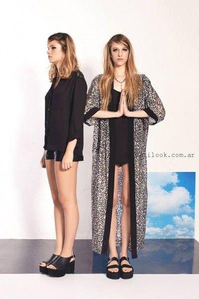 kimono largo animal print sofia caputo verano 2016
