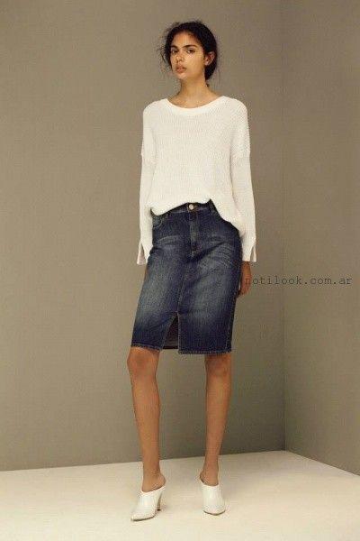 pollera de jean rodilla  - Maria Cher verano 2016