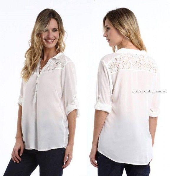 blusa blanca con encaje verano 2016 etam