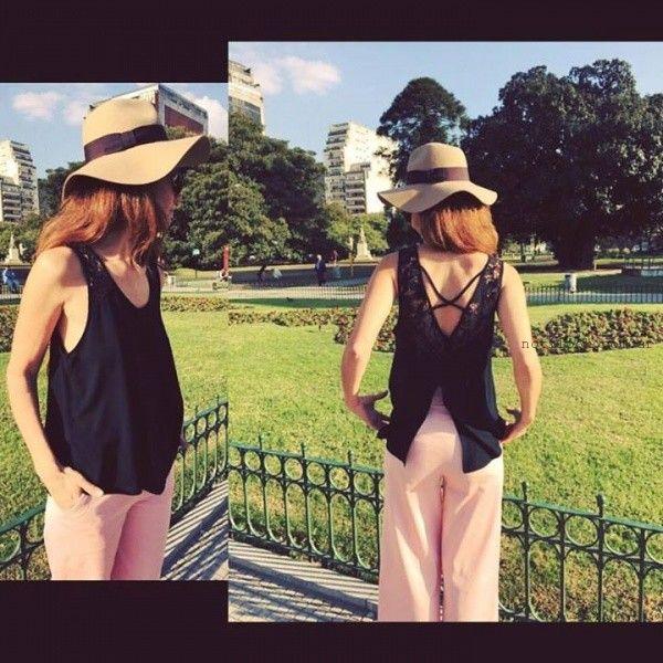 blusa con aplique de guipur verano 2016 Ag Store