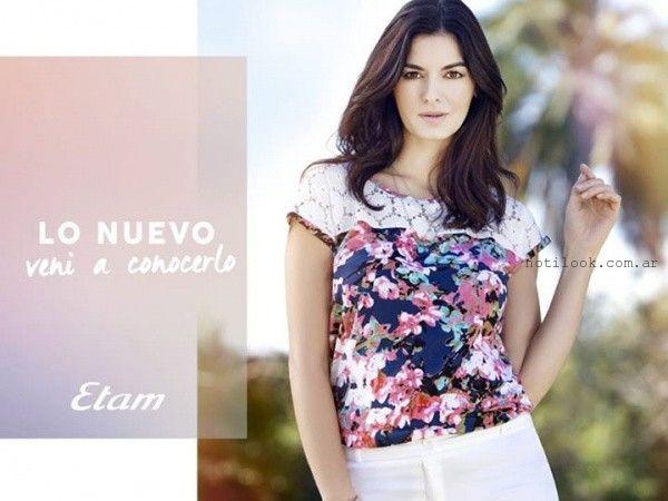 blusa estampada con encaje verano 2016 etam