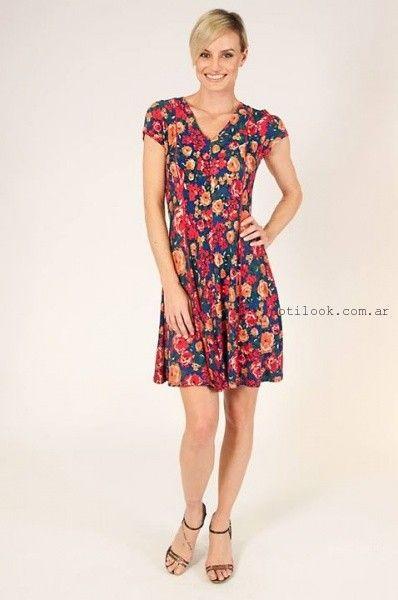 vestido corto floreado primavera verano 2016 Mirta Armesto