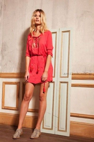 vestido corto informal con mangas verano 2016