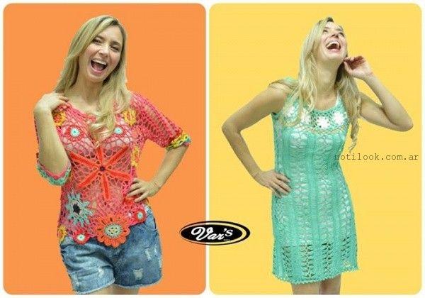 vestido corto tejido a crochet verano 2016 vars