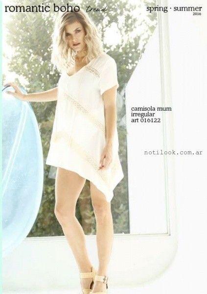 camisola larga blanca con puntilla verano 2016 City Jenifer Argentina