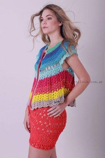 pollera a crochet Enriquiana tejidos primavera verano 2016