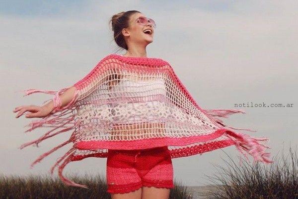 poncho Enriquiana tejidos a crochet  primavera verano 2016