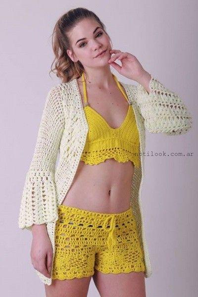 saquito a crochet Enriquiana tejidos primavera verano 2016