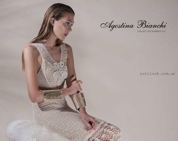 vestido corto a crochet Agostina Bianchi verano 2016