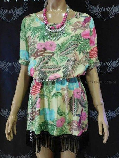 vestido corto con flecos Afixis verano 2016