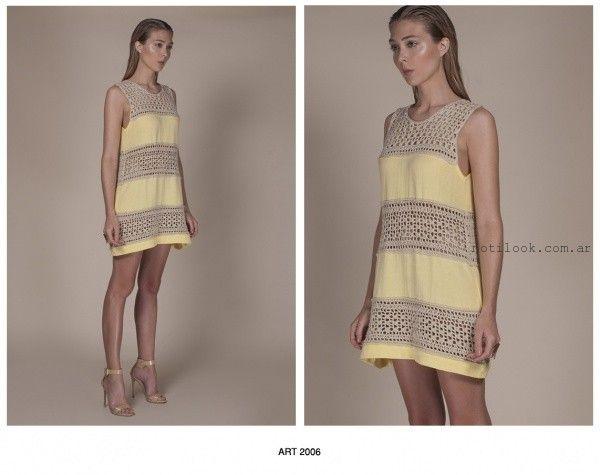 vestido corto de hilo tejido artesanal Agostina Bianchi verano 2016