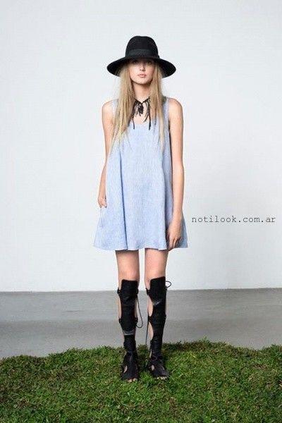 vestido corto denim verano 2016 Allô Martinez