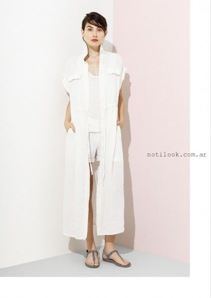 vestido largo abotonado de lino verano 2016 graciela naum