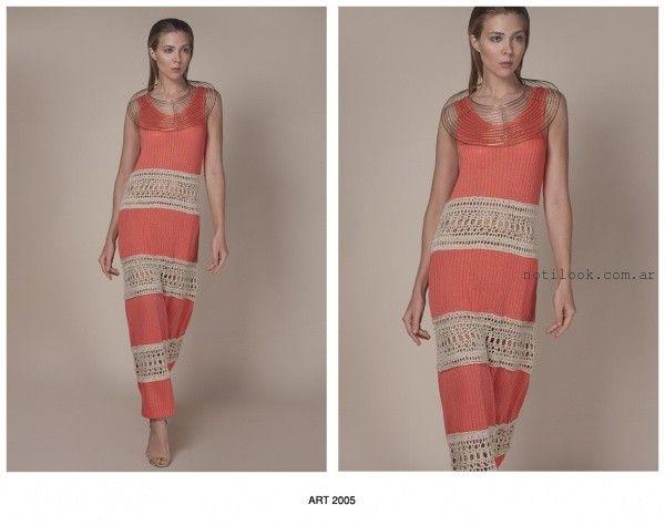 vestido largo tejido Agostina Bianchi verano 2016
