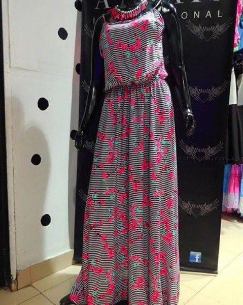 vestido rayado largo Afixis verano 2016