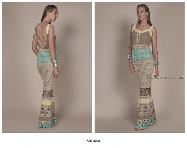 vestidos largos tejidos a crochet Agostina Bianchi verano 2016