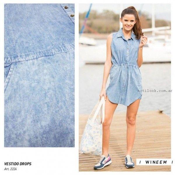 Vestido corto camisero de jeans Wineem verano 2016
