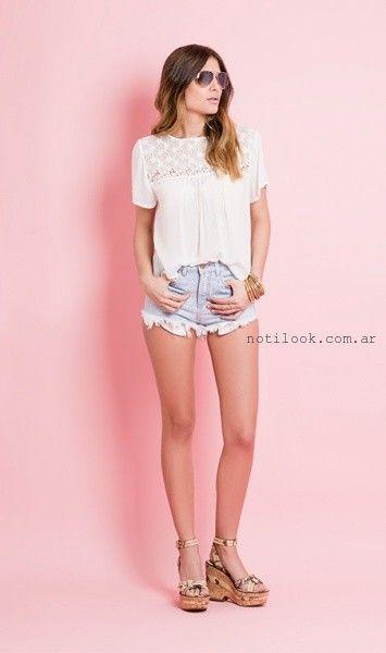 blusa de gasa con encaje juvenil Sans Doute primavera verano 2016