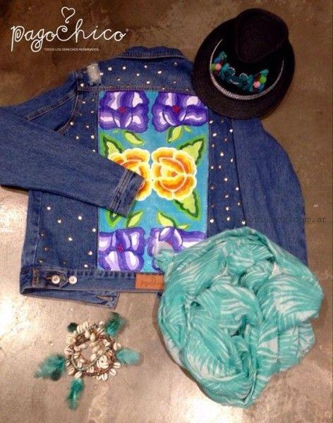 chaqueta de jeans pintada y bordada verano 2016 Pago Chico