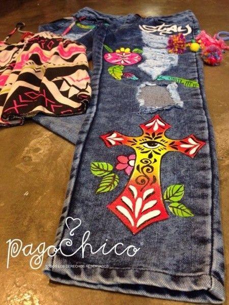 jeans pintado con estampas verano 2016 Pago Chico