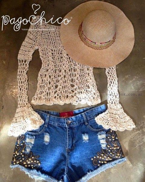 short jeans bordado verano 2016 Pago Chico