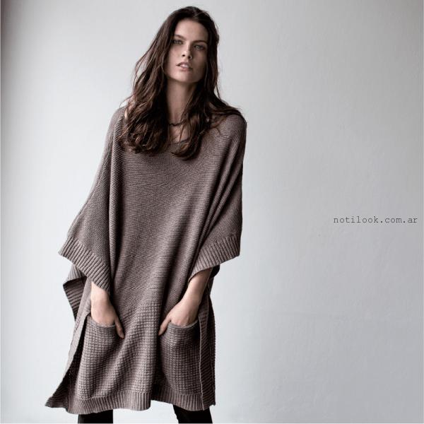 Poncho tejido tannery invierno 2016