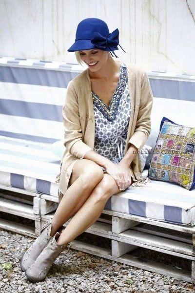 Vars Moda vestido estampado con saco de ante invierno 2016